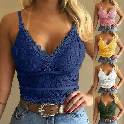£5.69 • Buy Womens Lace Bralette Bralet Bra Vest Bustier Crop Top Ladies Camisole Cami Tank