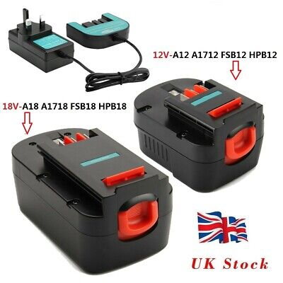 £18.95 • Buy Battery+Charger For Black & Decker (18V) HPB18-OPE A18 A1718 (12V) A1712 A12
