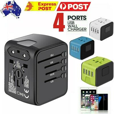 AU18.49 • Buy Universal International Travel Adapter 4 USB Power Plug Charger Converter Socket