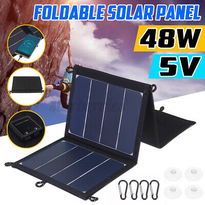 £28.99 • Buy 48W 5V Folding Solar Panel Portable Camping Hiking Phone USB Charger Power Bank