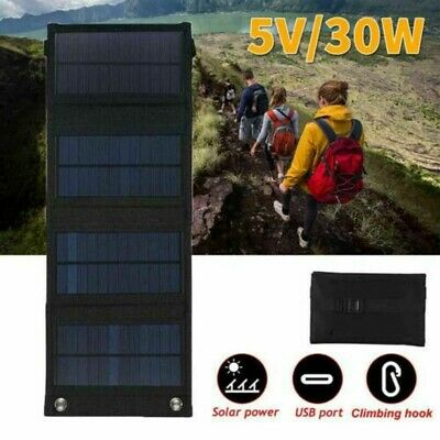 £20.79 • Buy 30W USB Solar Panel Folding Portable Powered Charger Camping Travel Charge UK!