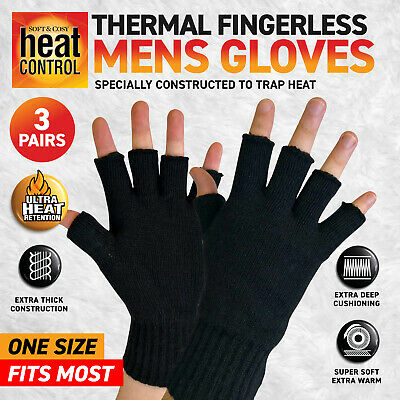 AU19.95 • Buy 3 Pairs Men's Gloves Thermal Fingerless Warm Thick Soft Breathable One Size Blac