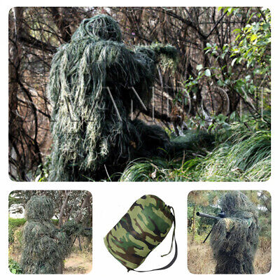 5Pcs Ghillie Suit Hunting Archery Sniper Wrap Bag Paintball Camo Adult Gilly • 28.58£