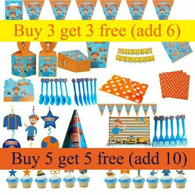 BLIPPI Birthday Party Bags Supplies Blippi Plates Cups Tablecloth Banner Decor • 4.56£
