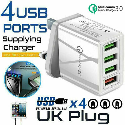 £4.19 • Buy 4 Multi-Port Fast Quick Charge QC3.0 USB Hub Mains Wall Charger Adapter UK Plug