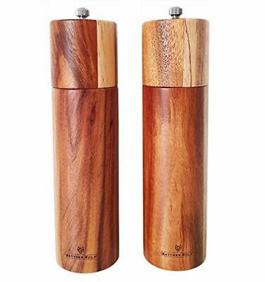 Modern Acacia Wood Salt & Pepper Grinders, 8ins, Adjustable Ceramic Grinder • 29.99£
