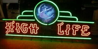 $2500 • Buy (VTG) Miller High Life Beer Girl On The Moon Neon Light Up Sign Marquee Bar Rare