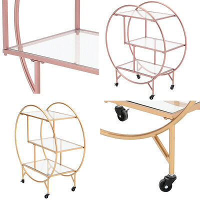 £119.95 • Buy Wheeled Gold/Rose Gold Drinks Trolley With Glass Shelf Art Deco Home Bar Cart