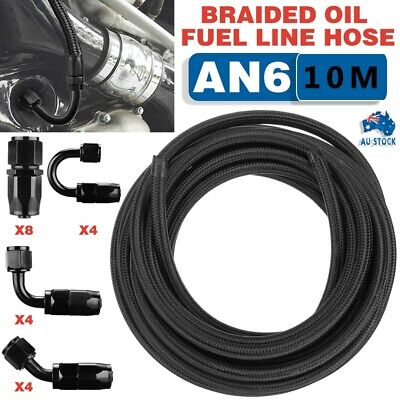 AU110.99 • Buy AN6 -6AN Fitting Stainless Steel Nylon Braided Oil Fuel Hose Line Kit 10m/32.8ft