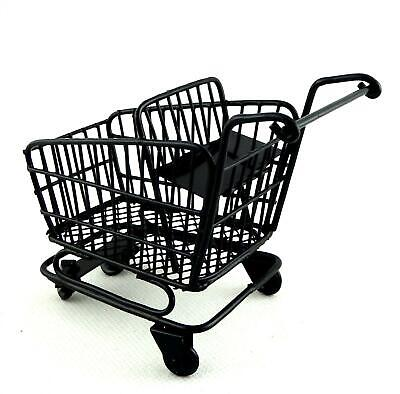 £28.99 • Buy Dolls House Black Shopping Trolley Cart With Baby Seat 1:12 Shop Store Accessory