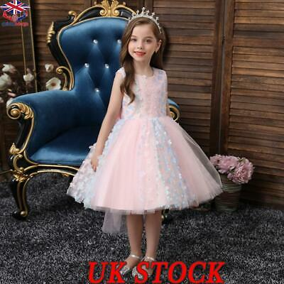 Girls Bridesmaid Dress Baby Flower Kids Party  Bow Wedding Dresses Princess Gown • 9.58£