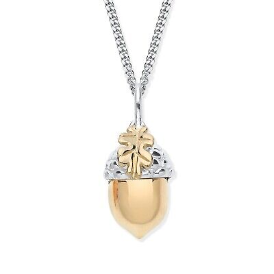 £15.95 • Buy 9ct Yellow Gold On Silver ACORN Pendant Necklace - Choice Of Chain