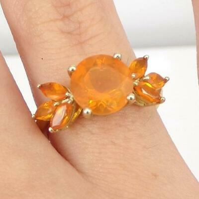 £129.45 • Buy Mexican Fire Opal Flower Floral Modernist 14K Yellow Gold Ring Size 7 LHH2