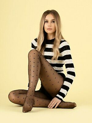 £5.99 • Buy FiORE Egalite Patterned Tights 8 Denier X Pattern Or Kisses Sizes S- XL