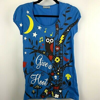 £9.98 • Buy Delias Ladies OWL Graphic Give A Hoot Womens Blue T-shirt Size Medium