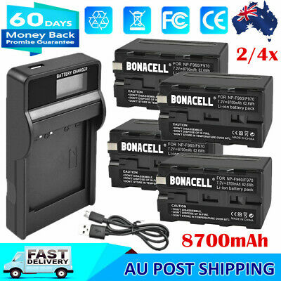 AU41.99 • Buy 2/4x 8700mAh NP-F960 Battery / Charger For Sony NP-F970 NP-F930 NP-F950 Camera