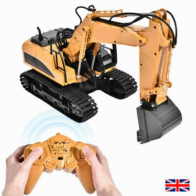 Remote Control Excavator 1/14 Scale RC Toy Tractor Bulldozer Digger 15 Channel • 43.98£
