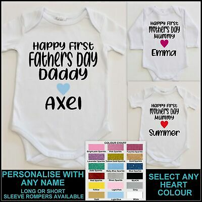 AU21.99 • Buy FIRST MOTHERS DAY ROMPER PERSONALISED Name Baby 1st S DAY Baby GIrl Boy DAD MUM