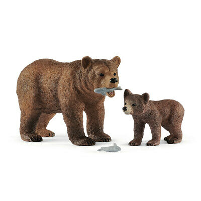 £10 • Buy 42473 Schleich Wild Life Grizzly Bear Mother With Cub -  Wildlife Animal Figure