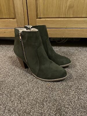 £29.99 • Buy London Rebel Brand New Khaki Suede Real Leather Ankle Boots Size Uk 4 RRP £60