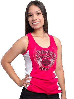 $ CDN24.17 • Buy Harley-Davidson Womens Chrome Winged B&S Hot Pink Colorblock Tank Top
