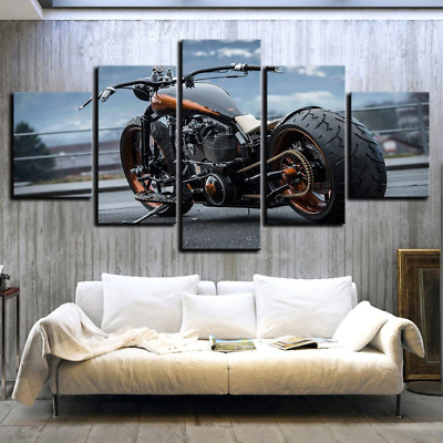 AU25.93 • Buy Wall Art Painting 3D Print 5 Panel Posters Luxury Motorcycles Men Home Decor Set