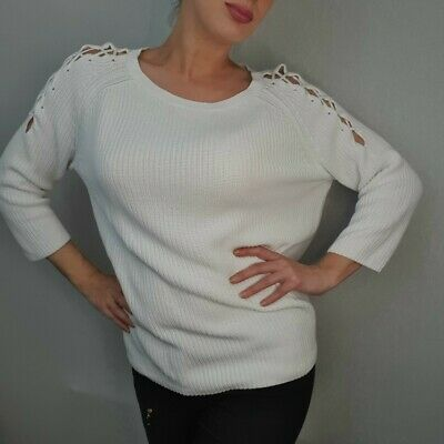 Together Size L White Knit Jumper Sweater Lace-Up Ribbed Medium Slouchy • 5.99£