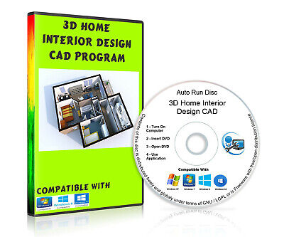 3D Home Interior Design Software CAD Program On CD-Rom For Microsoft Windows • 2.50£