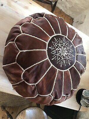Moroccan Leather Pouffe • 65£