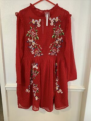 AU16.20 • Buy ASOS BNWT Red Chiffon Embroidered Dress Size 14