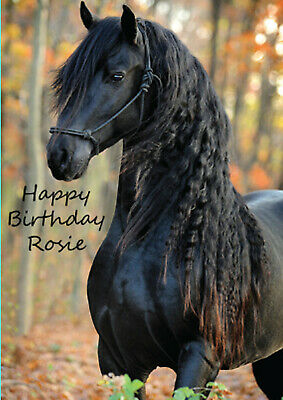 £2.72 • Buy Personalised Horse Rider Card Horses Birthday Christmas Brown Black