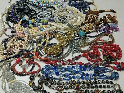$ CDN12.54 • Buy Vintage To Modern NECKLACE Lot Over 4 Lbs Glass Faux Pearls Plastic Shells Etc