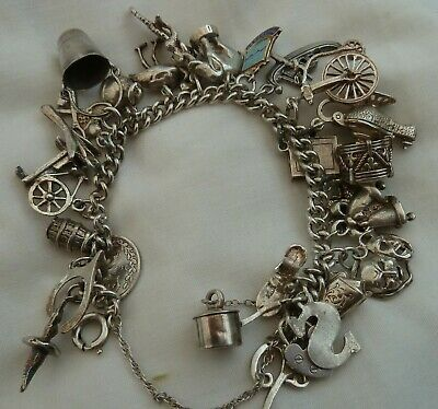 VINTAGE SILVER CHARM BRACELET 70g WITH 26 CHARMS • 79.99£