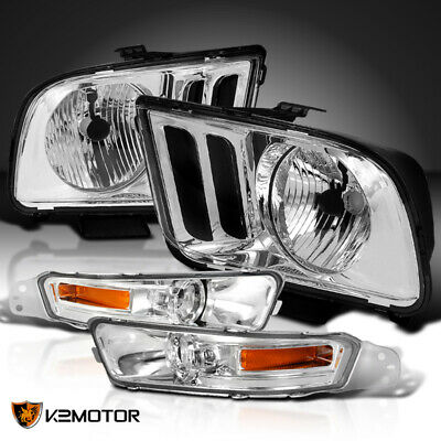 $94.54 • Buy For 2005-2009 Ford Mustang Crystal Headlights +Front Bumper Signal Lamps Clear
