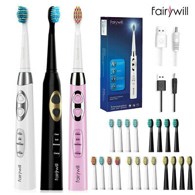 AU25.98 • Buy Fairywill Sonicare Rechargeable Electric Toothbrush Soft Hard Heads Adults Kids