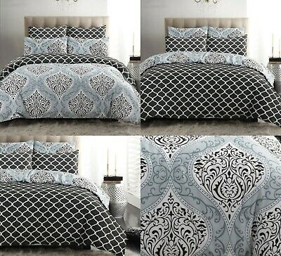 £16.99 • Buy Grey Duvet Cover Set Pillow Cases 100% Cotton Double King All Size Quilt Bedding