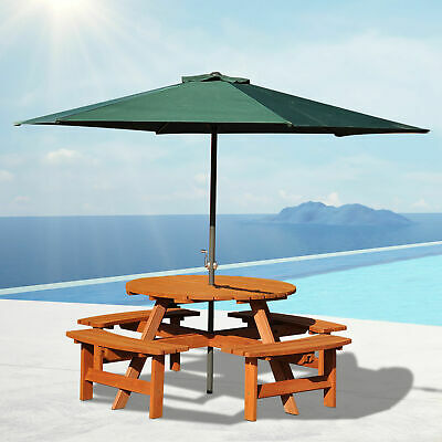 £249.99 • Buy Outsunny 8 Seat Garden Outdoor Wooden Round Picnic Table Bench W/ Parasol Hold
