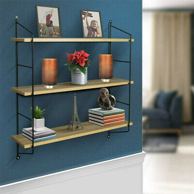 £19.99 • Buy Adjustable 3 Tier Wall Floating Shelf With Metal Brackets Strong Bearing Shelves