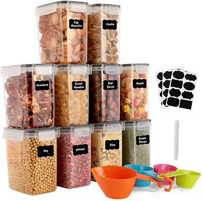 £32.99 • Buy 10 Pcs Airtight Dry Food Storage Containers Stackable Cereal Storage Set + Lids