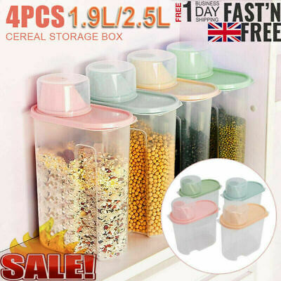 £9.39 • Buy 4Pcs Cereal Containers Dispenser Food Storage Dry Food Kitchen 1.9/2.5L Box R9