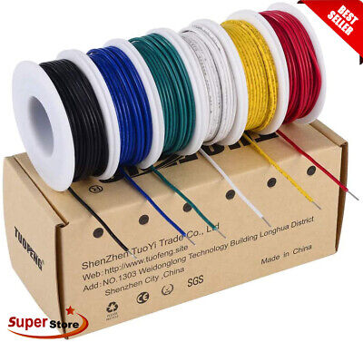 £18.99 • Buy SOLID CORE HOOKUP WIRE 1/0.65mm 22AWG BREADBOARD JUMPERS 6 COLOURS 9 METRES