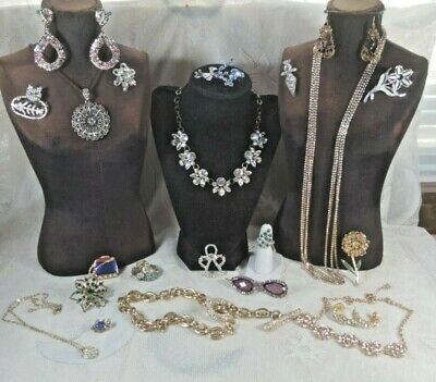 $ CDN19.46 • Buy Vintage Rhinestone Jewelry Lot Dangle Earrings Lia Sophia Necklaces Bracelets