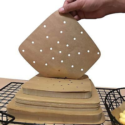 100Pcs Non Stick Air Fryer Liners Dim Sum Paper Square Perforated Steamer Pad • 4.59£