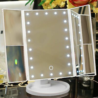 Foldable LED Mirror Illuminated Make Up Mirror Cosmetic Vanity With Light Stand • 8.99£