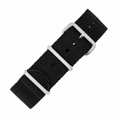 £9.95 • Buy NATO Military-Style Nylon Watch Strap In BLACK With Polished Buckle And Keepers