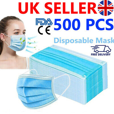 500 Disposable Face Mask Surgical 3 Ply Mouth Guard Cover Face Masks Protection • 12.99£