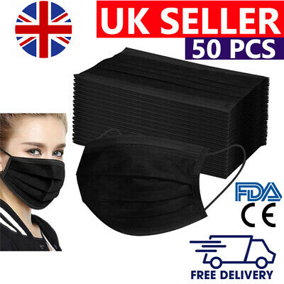 50 X Disposable Black Face Masks 3 Ply Dental Non Medical Surgical Mask Covering • 3.89£