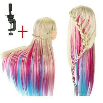 26  Colorful Salon Hair Training Head Hairdressing Styling Mannequin Doll+Clamp • 16.89£