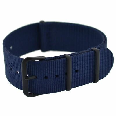 £9.95 • Buy NATO Military-Style Nylon Watch Strap In BLUE With Black PVD Buckle And Keepers