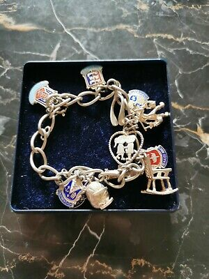 Stunning Vintage Solid Silver Charm Bracelet 13 Charms 35.48g • 27.99£
